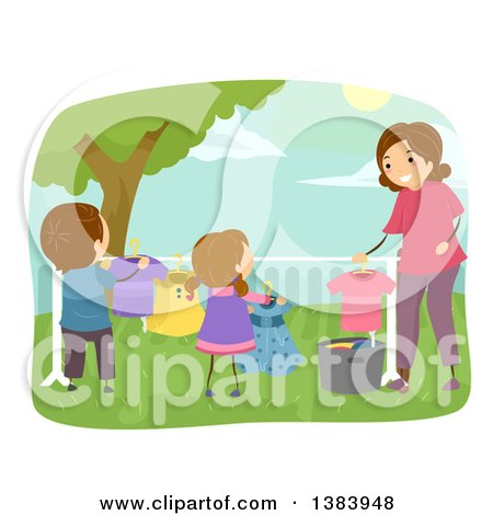 Clipart of a Happy Brunette Mother and Children Hanging Laundry to Dry on a Line in Their Yard - Royalty Free Vector Illustration by BNP Design Studio