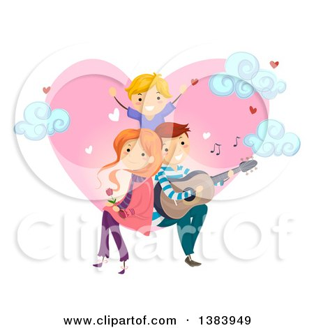 Clipart of a Happy Caucasian Father Serenading His Son and His Wife in Front of a Heart with Clouds - Royalty Free Vector Illustration by BNP Design Studio