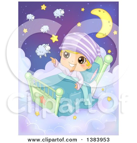 Clipart of a Boy Sitting up in a Bed on Clouds and Pointing out Sheep and Stars - Royalty Free Vector Illustration by BNP Design Studio