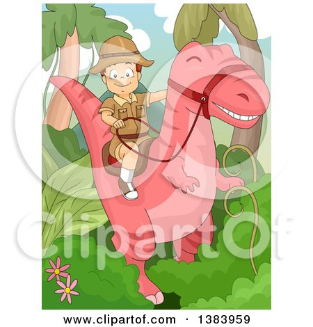 Clipart of a Happy White Boy Riding a Pink Dinosaur in a Jungle - Royalty Free Vector Illustration by BNP Design Studio