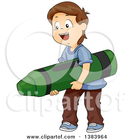 Clipart of a Happy Brunette White Boy Carrying a Giant Crayon - Royalty Free Vector Illustration by BNP Design Studio