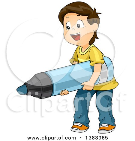 Clipart of a Happy Brunette White Boy Carrying a Giant Marker - Royalty Free Vector Illustration by BNP Design Studio