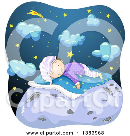 Clipart of a Happy Boy Sleeping on Top of the Moon, with Stars and Clouds in the Background - Royalty Free Vector Illustration by BNP Design Studio