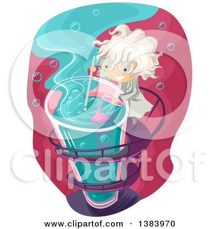 Clipart of a Mad Scientist Boy Mixing Chemicals in a Tall Test Tube - Royalty Free Vector Illustration by BNP Design Studio