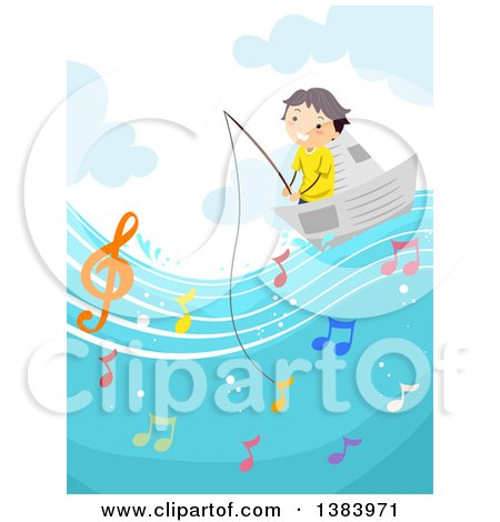 Clipart of a Happy Boy Fishing from a Paper Boat and Catching Music Notes - Royalty Free Vector Illustration by BNP Design Studio
