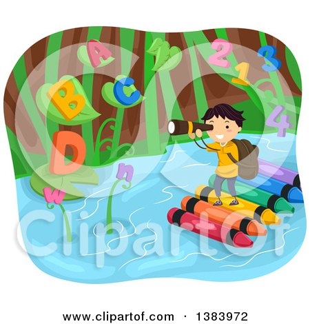 Clipart of a School Boy Standing on a Crayon Raft and Looking Through Binoculars at Giant Plants with Letters and Numbers - Royalty Free Vector Illustration by BNP Design Studio
