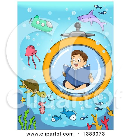 Clipart of a Brunette White Boy Reading a Book in a Submarine and Viewing Sea Creatures - Royalty Free Vector Illustration by BNP Design Studio