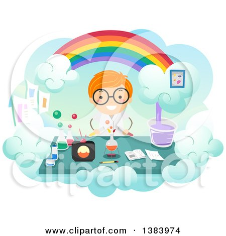 Clipart of a Happy Red Haired White Boy Conducing a Science Experiment Under a Rainbow - Royalty Free Vector Illustration by BNP Design Studio