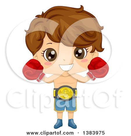 Clipart of a Brunette White Boy Boxer Wearing a Belt and Gloves - Royalty Free Vector Illustration by BNP Design Studio