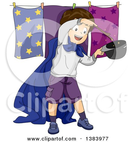 Clipart of a Brunette White Boy Pretending to Be a Magician - Royalty Free Vector Illustration by BNP Design Studio