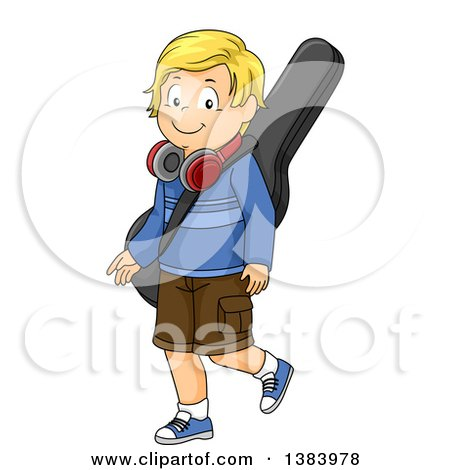 Clipart of a Blond White Boy Walking with a Guitar Case and Headphones - Royalty Free Vector Illustration by BNP Design Studio