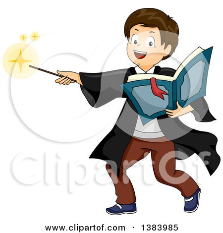 Clipart of a Brunette White Boy Wizard Holding a Book and Casting a Spell - Royalty Free Vector Illustration by BNP Design Studio