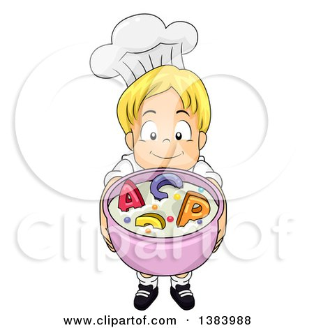 Clipart of a Blond White Boy Chef Holding up a Bowl of Alphabet Soup - Royalty Free Vector Illustration by BNP Design Studio