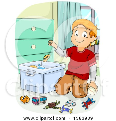 Clipart of a Red Haired White Boy Kneeling and Throwing Toys in a Bin - Royalty Free Vector Illustration by BNP Design Studio