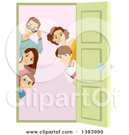 Clipart of a Brunette Caucasian Family of Five Peeking Around a Doorway - Royalty Free Vector Illustration by BNP Design Studio