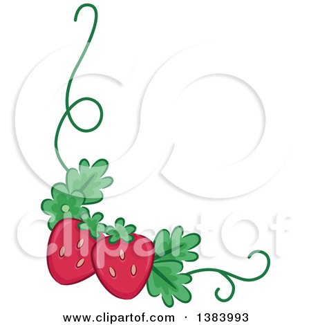 Clipart of a Corner Border of Strawberries and a Vine - Royalty Free Vector Illustration by BNP Design Studio