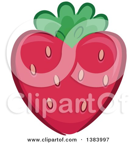 Clipart of a Heart Shaped Strawberry - Royalty Free Vector Illustration by BNP Design Studio