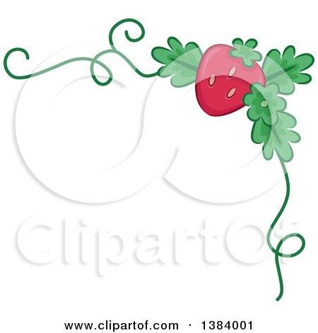 Clipart of a Corner Border of a Strawberry and a Vine - Royalty Free Vector Illustration by BNP Design Studio
