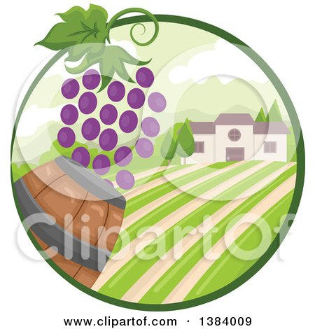 Clipart of a Vinyard Landscape and Building with Grapes and a Barrel in an Oval - Royalty Free Vector Illustration by BNP Design Studio