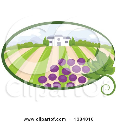 Clipart of a Vinyard Landscape and Building with Grapes in an Oval - Royalty Free Vector Illustration by BNP Design Studio