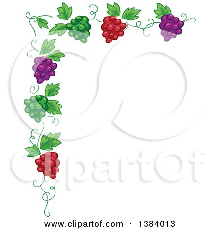 Clipart of a Green, Red and Purple Grape Vine Corner Border - Royalty Free Vector Illustration by BNP Design Studio