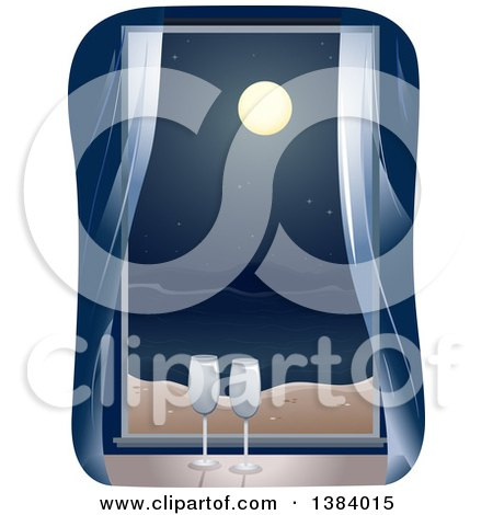 Clipart of a Window with Champagne Glasses Looking out on the Ocean at Night - Royalty Free Vector Illustration by BNP Design Studio