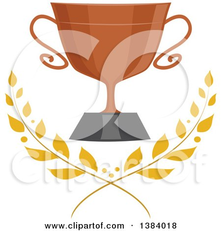 Clipart of a Bronze Trophy Cup with Laurel Branches - Royalty Free Vector Illustration by BNP Design Studio