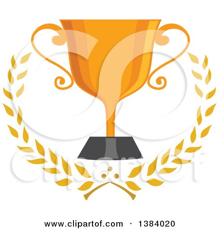 Clipart of a Gold Trophy Cup with Laurel Branches - Royalty Free Vector Illustration by BNP Design Studio