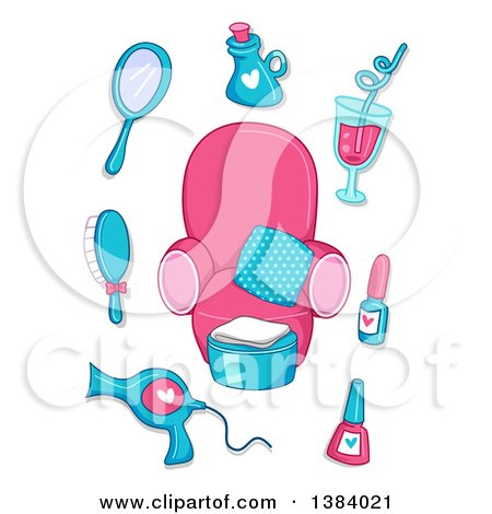 Clipart of Pink and Blue Spa Items Around a Chair - Royalty Free Vector Illustration by BNP Design Studio