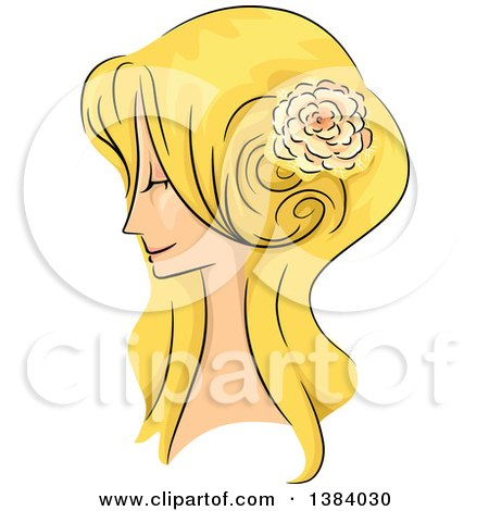 Clipart of a Sketched Blond White Woman in Profile, with Her Hair in a Long 50s Style - Royalty Free Vector Illustration by BNP Design Studio