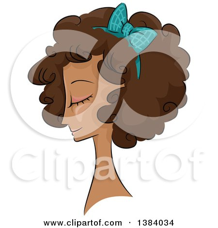 Clipart of a Sketched Black Woman in Profile, with Her Hair in a Curly 50s Style - Royalty Free Vector Illustration by BNP Design Studio