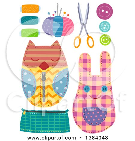 Clipart of Sewing Notions and Crafts - Royalty Free Vector Illustration by BNP Design Studio