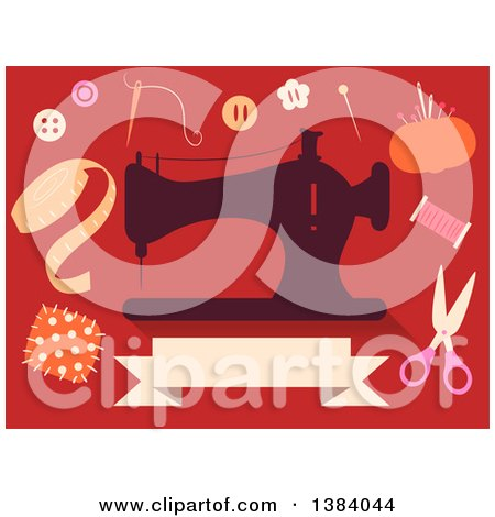 Clipart of a Silhoeutted Sewing Machine and Notions on Red - Royalty Free Vector Illustration by BNP Design Studio