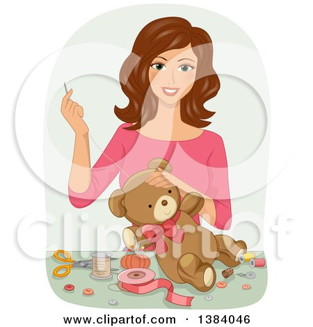Clipart of a Happy Brunette White Woman Sewing a Teddy Bear - Royalty Free Vector Illustration by BNP Design Studio