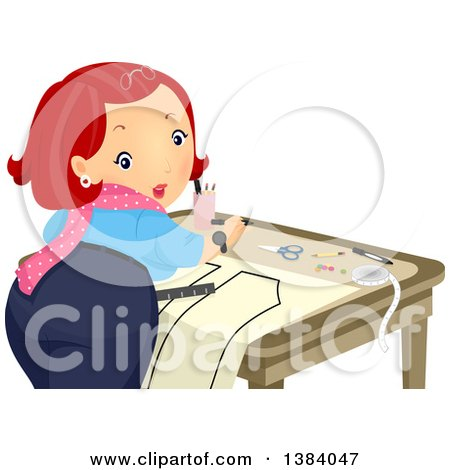 Clipart of a Red Haired White Woman Looking Back While Creating a Sewing Pattern - Royalty Free Vector Illustration by BNP Design Studio