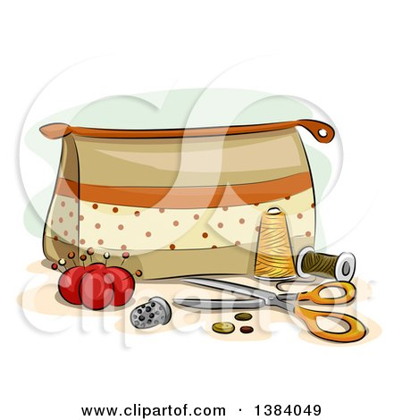 Clipart of a Sewing Kit Bag with Accessories and Notions - Royalty Free Vector Illustration by BNP Design Studio