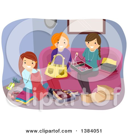 Clipart of a Group of White Women Working on Different Crafts in a Living Room - Royalty Free Vector Illustration by BNP Design Studio