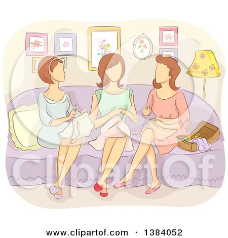 Clipart of a Group of Faceless Caucasian Woman Sewing Together - Royalty Free Vector Illustration by BNP Design Studio