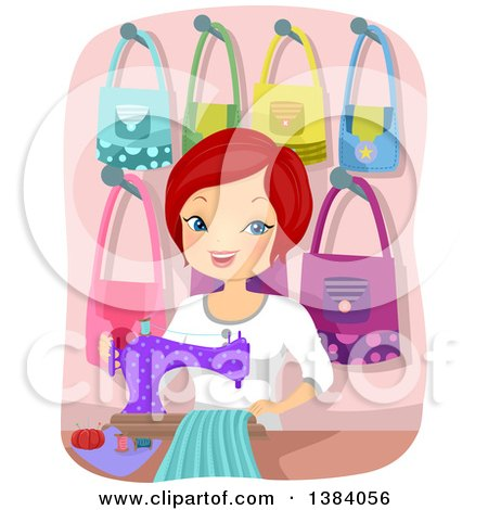 Clipart of a Happy Red Haired White Woman Sewing Bags - Royalty Free Vector Illustration by BNP Design Studio