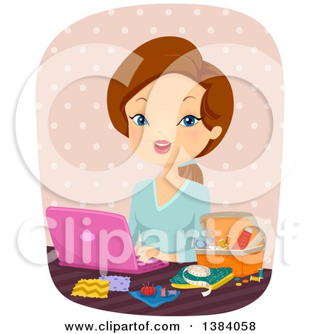 Clipart of a Brunette White Woman Using a Laptop Computer and Sitting with Sewing Supplies - Royalty Free Vector Illustration by BNP Design Studio