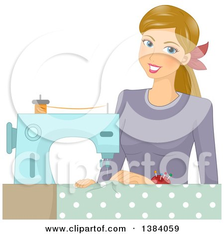 Clipart of a Happy Blond White Woman Sewing Fabric - Royalty Free Vector Illustration by BNP Design Studio