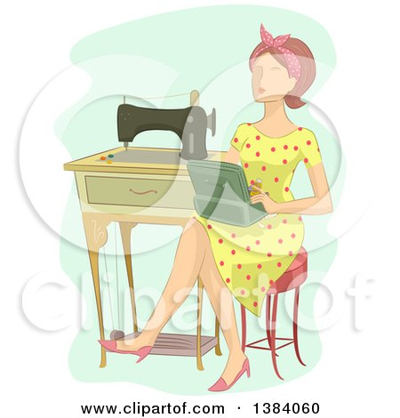 Clipart of a Brunette White Woman Sitting with a Box by a Vintage Sewing Machine - Royalty Free Vector Illustration by BNP Design Studio