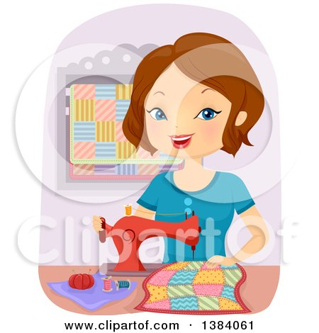 Happy Brunette White Woman Sewing a Quilt Posters, Art Prints