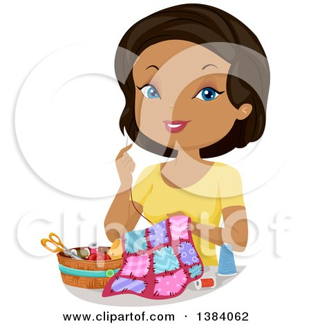 Clipart of a Happy Black Woman Hand Sewing a Quilt - Royalty Free Vector Illustration by BNP Design Studio