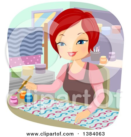 Clipart of a Happy Red Haired White Woman Painting Fabric - Royalty Free Vector Illustration by BNP Design Studio
