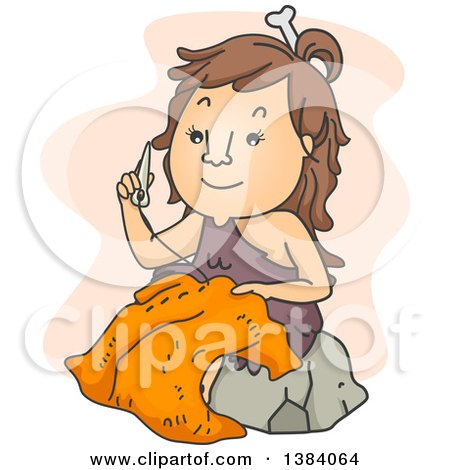 Clipart of a Cartoon Cave Woman Sewing Clothes with a Bone Needle - Royalty Free Vector Illustration by BNP Design Studio