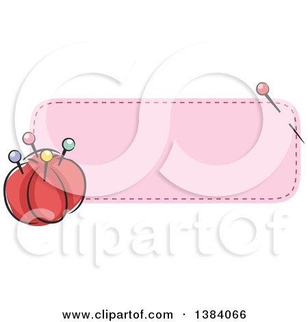Clipart of a Purple Sewn Patch Banner Label with a Sewing Needle and Pin Cushion - Royalty Free Vector Illustration by BNP Design Studio