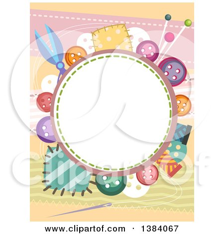 Clipart Of A Circular Frame Border With Colorful Buttons And Patches Royalty Free Vector Illustration