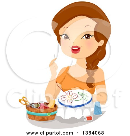 Clipart of a Brunette White Woman Embroidering a Flower - Royalty Free Vector Illustration by BNP Design Studio