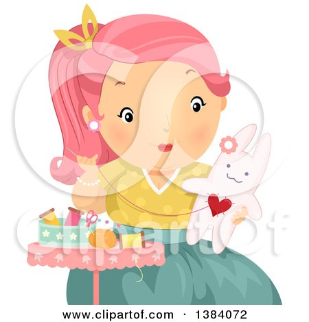 Clipart of a Pink Haired White Woman Sewing a Stuffed Bunny Rabbit - Royalty Free Vector Illustration by BNP Design Studio